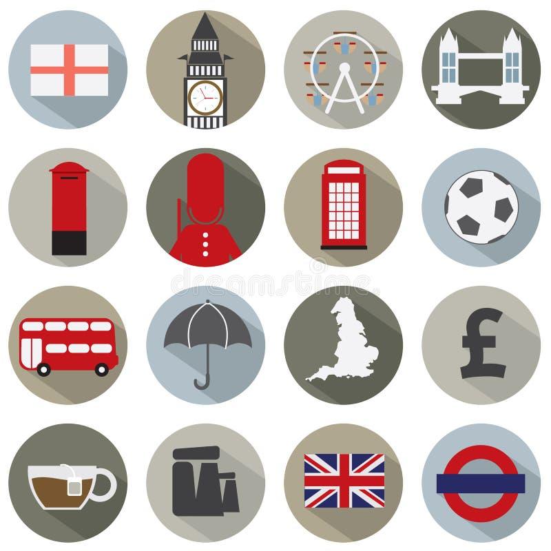 Insieme delle icone di simbolo dell'Inghilterra illustrazione di stock