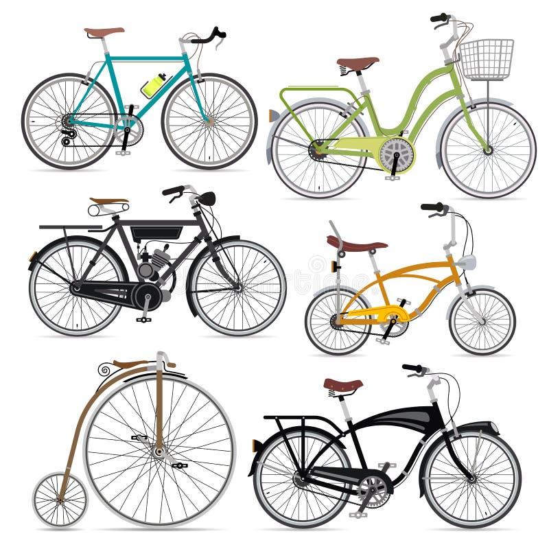 Insieme delle icone di simbolo della bicicletta. illustrazione di stock