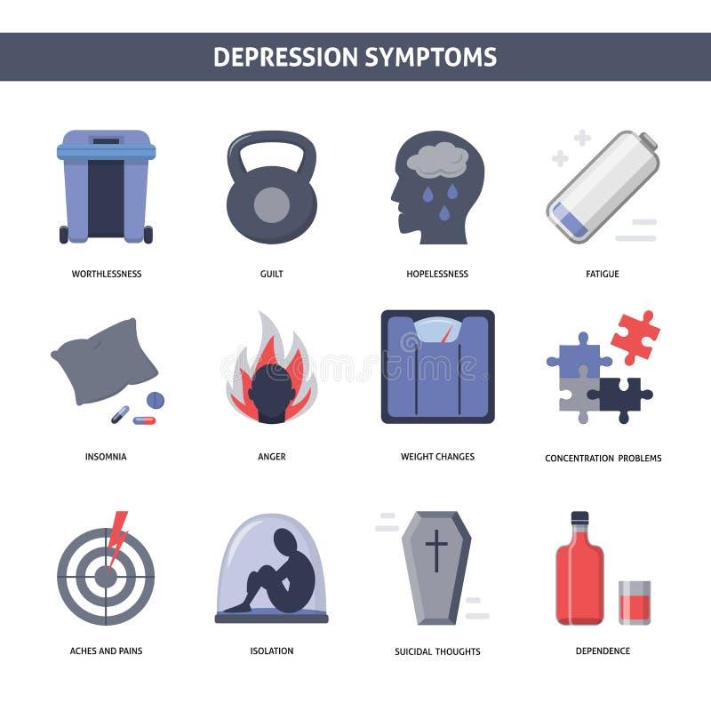 Insieme delle icone di sintomi di depressione nello stile piano illustrazione di stock