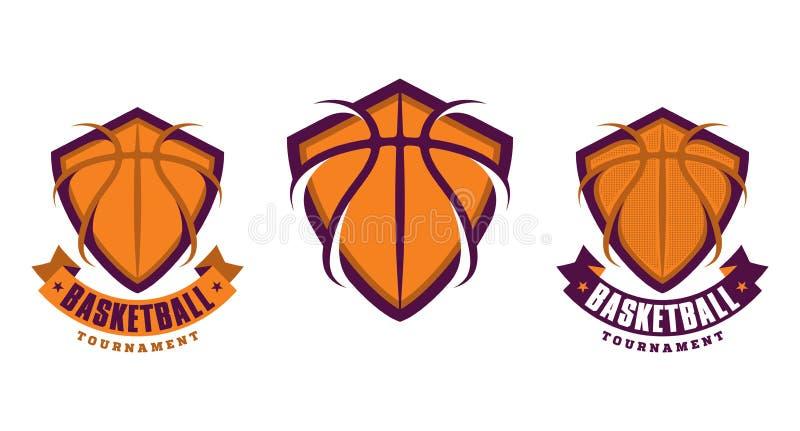 Insieme delle icone di sport di pallacanestro illustrazione di stock