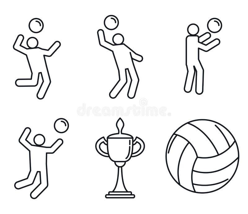 Insieme delle icone di sport di pallavolo, stile del profilo illustrazione di stock