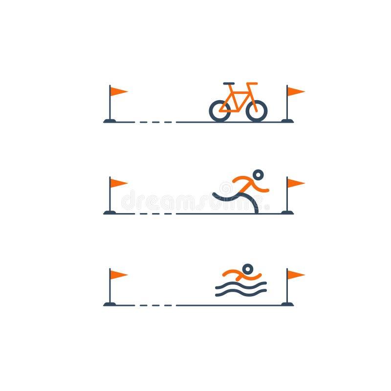 Insieme delle icone di sport per il triathlon illustrazione di stock