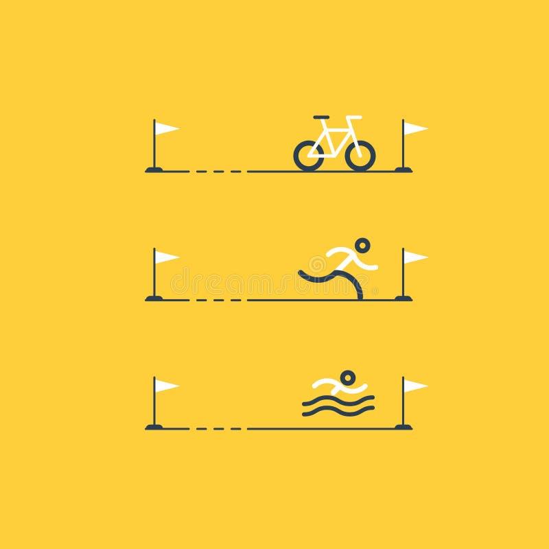 Insieme delle icone di sport per il triathlon illustrazione vettoriale