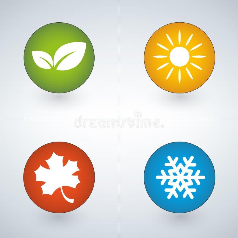 Insieme delle icone di stagione nei colori verdi, gialli, rossi e blu royalty illustrazione gratis