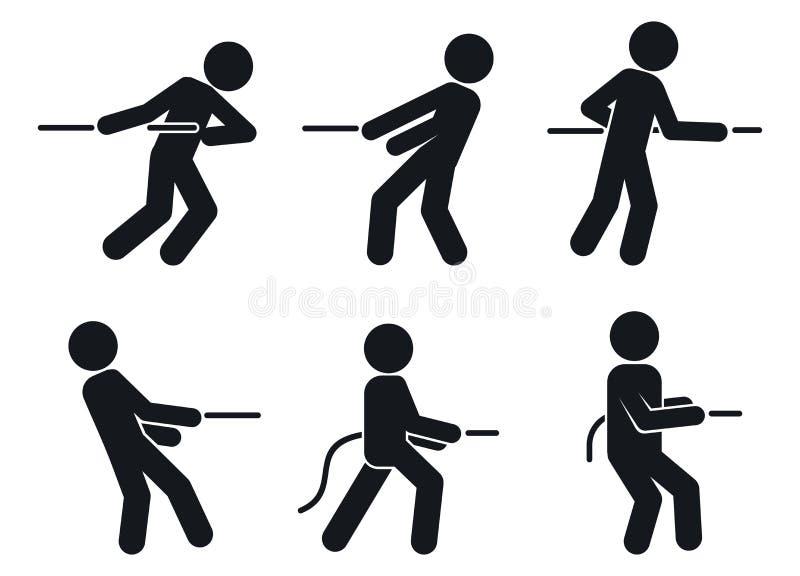 Insieme delle icone di tirata di conflitto, stile semplice illustrazione vettoriale