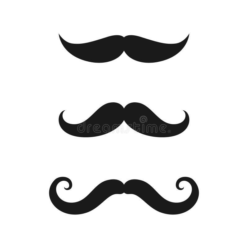 Insieme delle icone di vecchio stile dei baffi illustrazione di stock