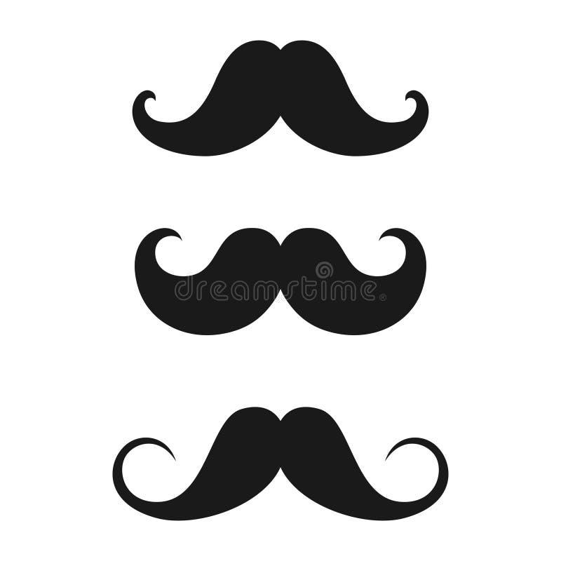 Insieme delle icone di vecchio stile dei baffi royalty illustrazione gratis