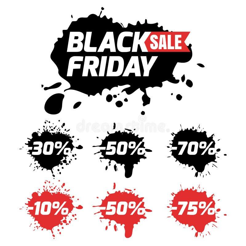 Insieme delle icone di vendita di venerdì del nero di vettore e degli ambiti di provenienza dell'acquerello illustrazione di stock