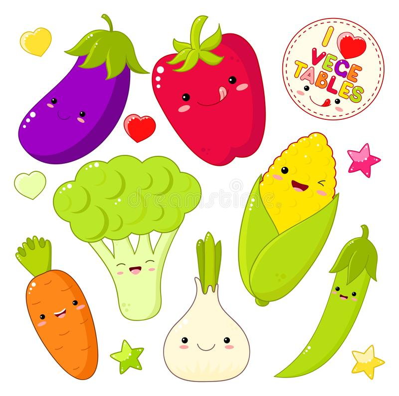 Insieme delle icone di verdure sveglie nello stile di kawaii illustrazione vettoriale
