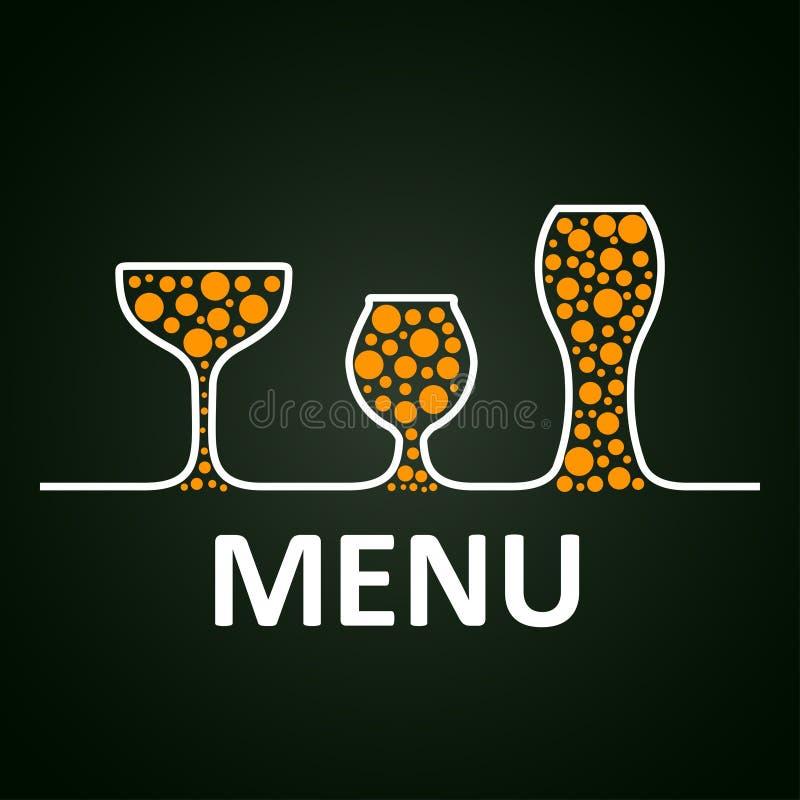 Insieme delle icone di vetro di Antivari Vetro di vino, tazze, tazze - vettore royalty illustrazione gratis