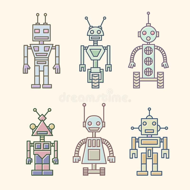 Insieme delle icone di vettore dei robot dipinti con le linee dipinte nei colori pastelli morbidi illustrazione vettoriale