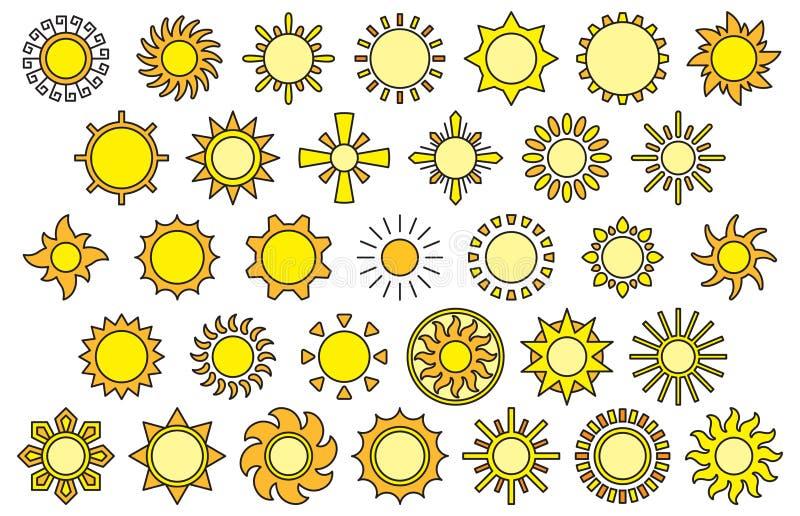 Insieme delle icone di web del sole illustrazione di stock