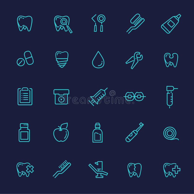 Insieme delle icone di web - denti, odontoiatria, medicina, salute illustrazione vettoriale