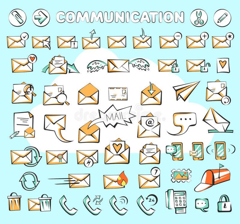 Insieme delle icone di web di comunicazione I segni della posta e del telefono di vettore hanno potuto essere utilizzati come bot royalty illustrazione gratis