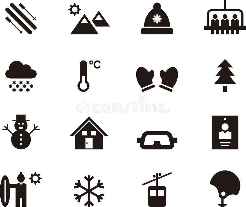 Insieme delle icone di web di corsa con gli sci e di inverno illustrazione vettoriale