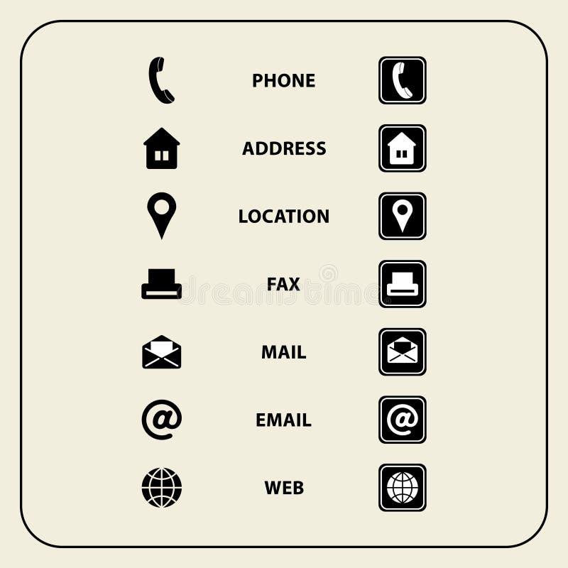Insieme delle icone di web per i biglietti da visita, la finanza e la comunicazione illustrazione di stock