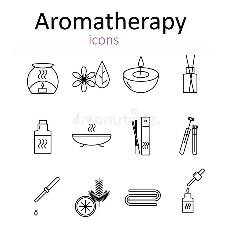 Insieme delle icone di web per l'aromaterapia Bruciatore a nafta, bastoni aromatici, oli dell'aroma, candele ed altri accessori p royalty illustrazione gratis