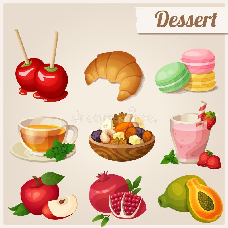 Insieme delle icone differenti dell'alimento Dessert illustrazione di stock