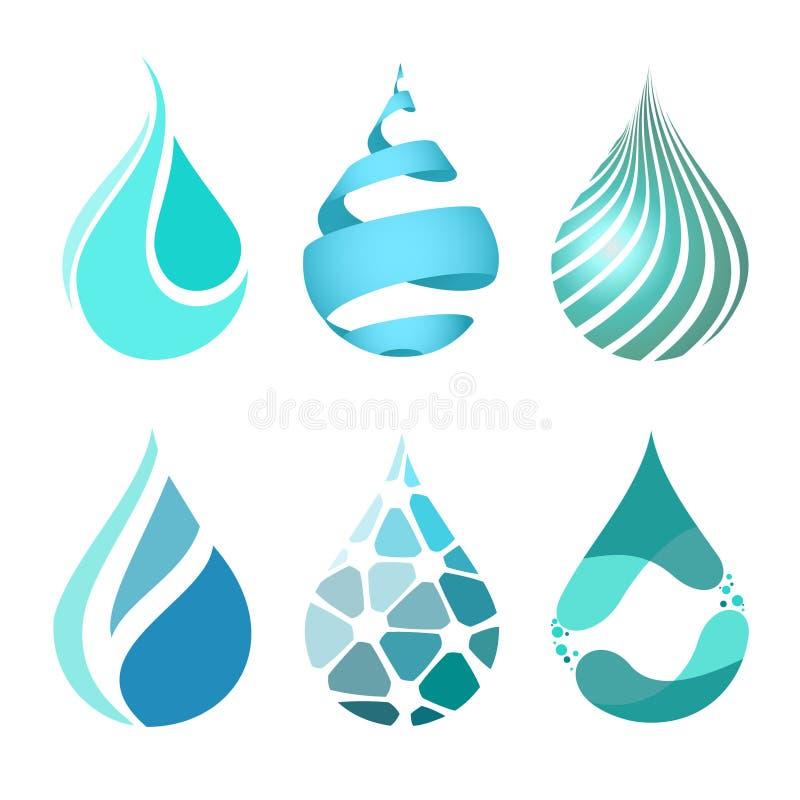 Insieme delle icone differenti luminose blu della goccia di acqua Logo della goccia di acqua illustrazione di stock