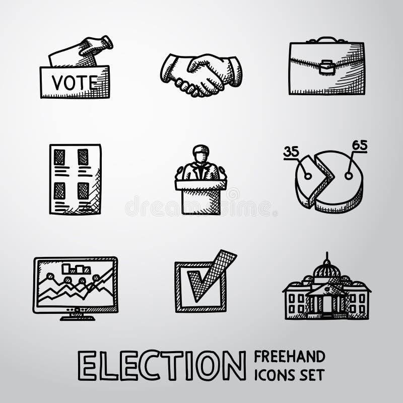 Insieme delle icone disegnate a mano di ELEZIONE con - la scatola di voto royalty illustrazione gratis