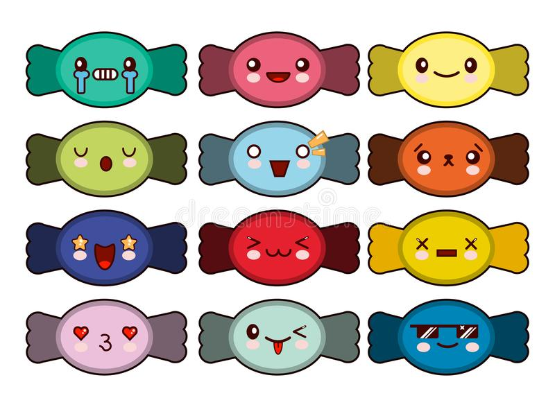 Insieme delle icone dolci sveglie della caramella nello stile di kawaii con il fronte sorridente per progettazione dolce Illustra royalty illustrazione gratis