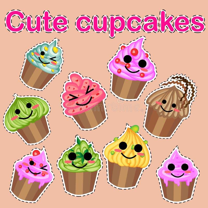 Insieme delle icone dolci sveglie nello stile di kawaii con il fronte sorridente e le guance rosa per progettazione dolce Gelato, fotografie stock libere da diritti