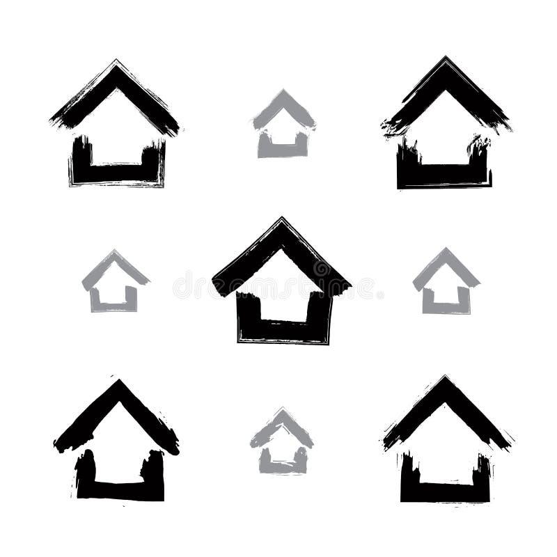 Insieme delle icone domestiche monocromatiche disegnate a mano, raccolta royalty illustrazione gratis