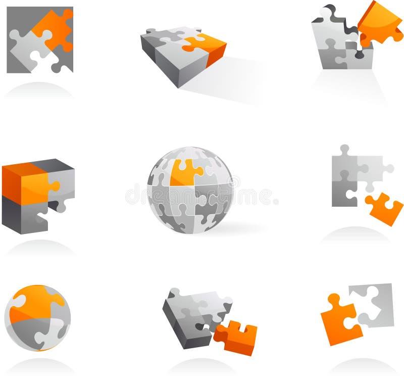 Insieme delle icone e dei marchi di puzzle illustrazione di stock