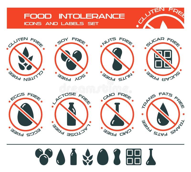 Insieme delle icone e di etichette di intolleranza dell'alimento illustrazione vettoriale