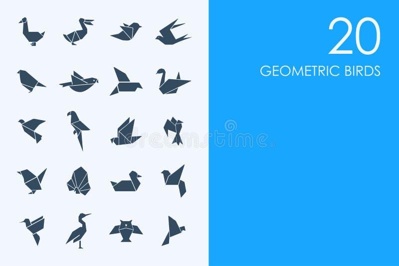 Insieme delle icone geometriche degli uccelli royalty illustrazione gratis