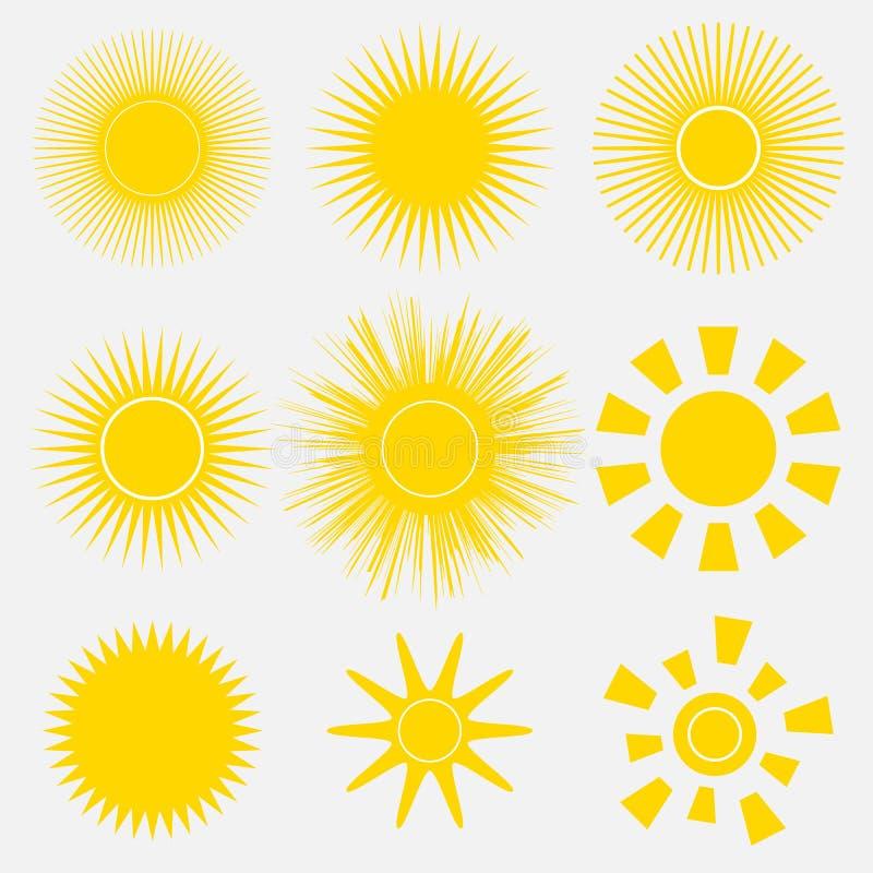 Insieme delle icone giallo arancione semplici di Sun su fondo bianco Illustrazione di vettore del fumetto di un'alba illustrazione vettoriale