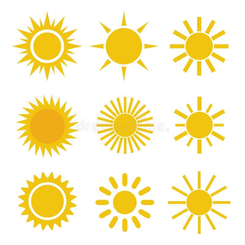 Insieme delle icone giallo arancione semplici differenti di Sun sui raggi appuntiti ed ondulati bianchi del fondo - illustrazione vettoriale