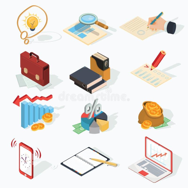 Insieme delle icone isometriche di affari di vettore royalty illustrazione gratis