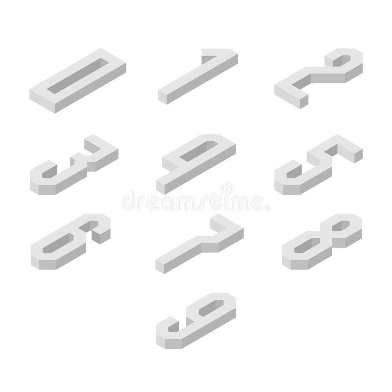 Insieme delle icone isometriche di numeri, caratteri 3d illustrazione di stock