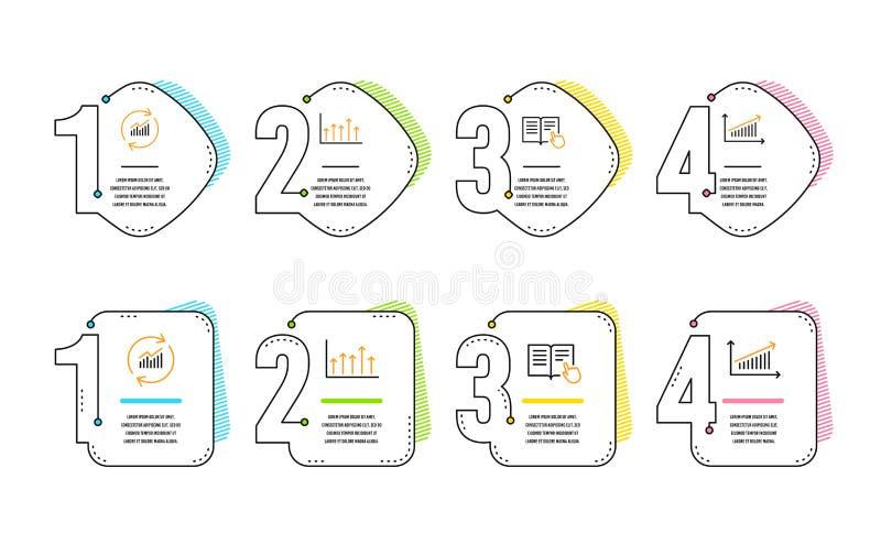 Insieme delle icone istruzione, dati dell'aggiornamento e del grafico di crescita colti segno del grafico Vettore illustrazione vettoriale