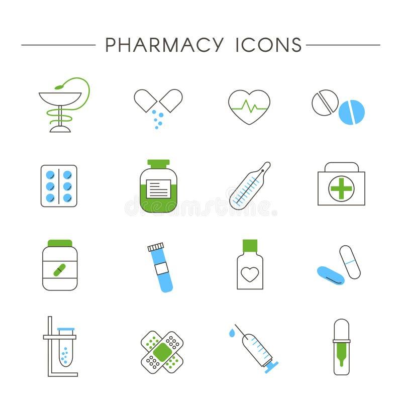 Insieme delle icone lineari della medicina e della farmacia illustrazione vettoriale