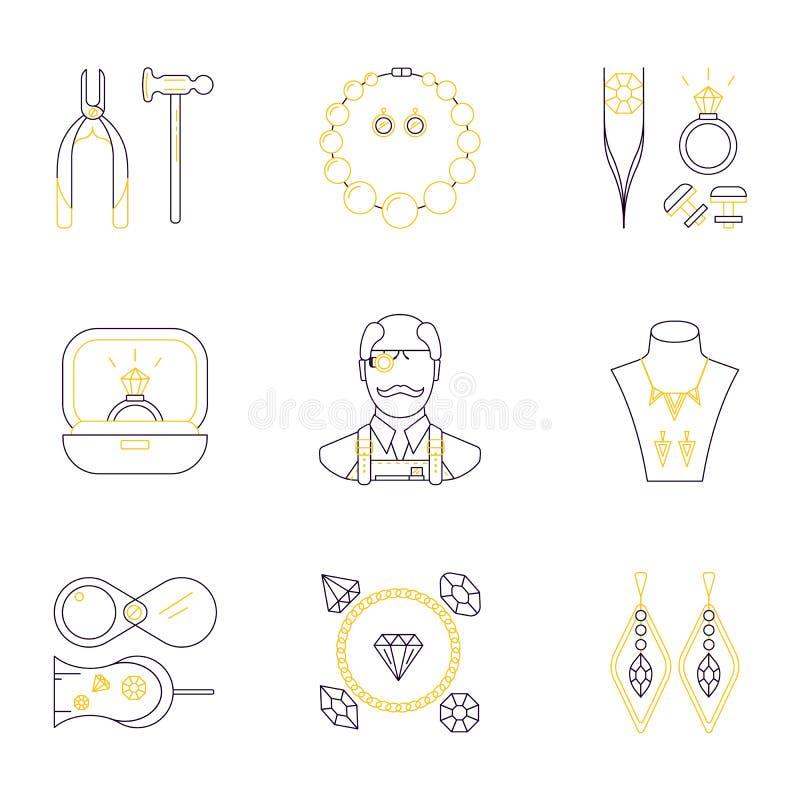 Insieme delle icone lineari di professione del gioielliere Vector il concetto di gioielli, gli accessori fatti a mano, oggetti di illustrazione vettoriale