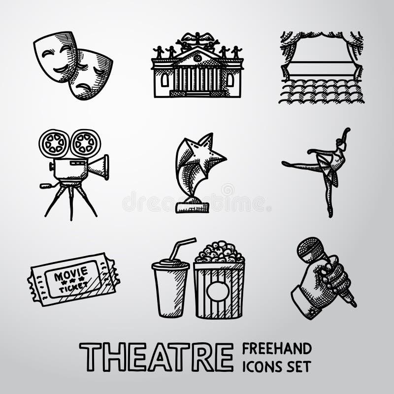 Insieme delle icone a mano libera del teatro - maschere, teatro illustrazione vettoriale