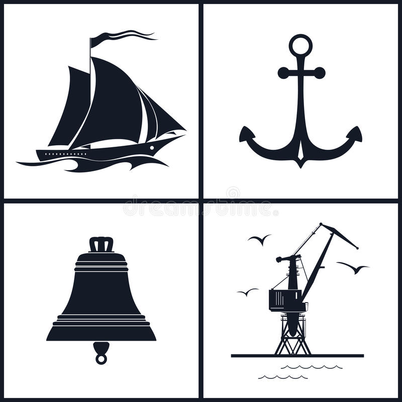 Insieme delle icone marittime, illustrazione di vettore royalty illustrazione gratis