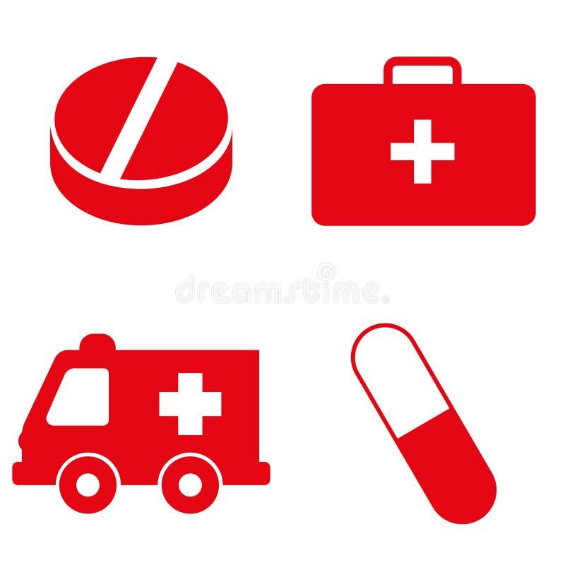 Insieme delle icone mediche nel colore rosso Illustrazione di vettore illustrazione vettoriale