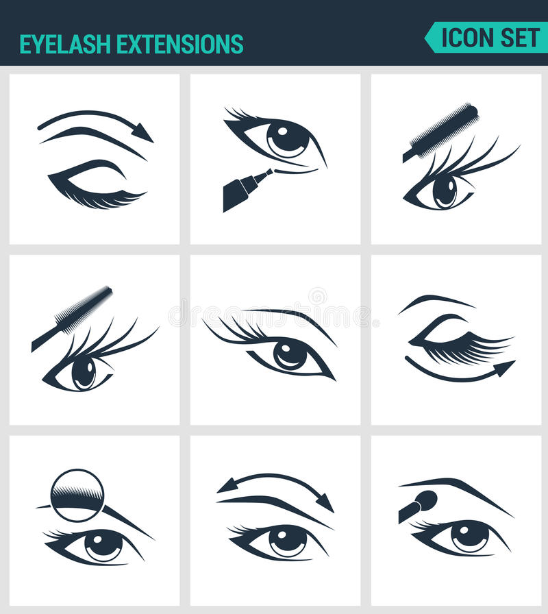Insieme delle icone moderne Cigli di estensioni del ciglio, occhi, mascara, ombretto, sopracciglio, eye-liner, aumento Segni neri illustrazione vettoriale