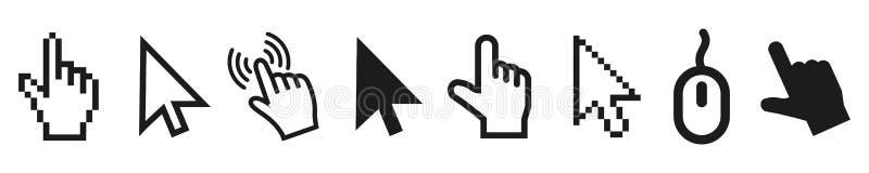 Insieme delle icone moderne piane del cursore - vettore illustrazione vettoriale