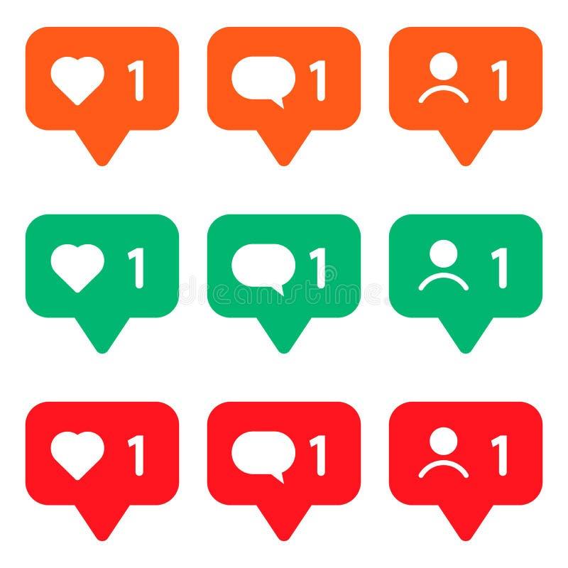 insieme delle icone multicolori per le reti sociali Come, messaggio ed utente Illustrazione di vettore illustrazione di stock