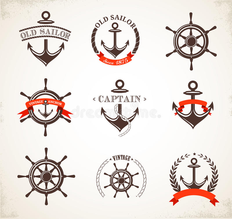 Insieme delle icone nautiche d'annata e dei simboli illustrazione di stock