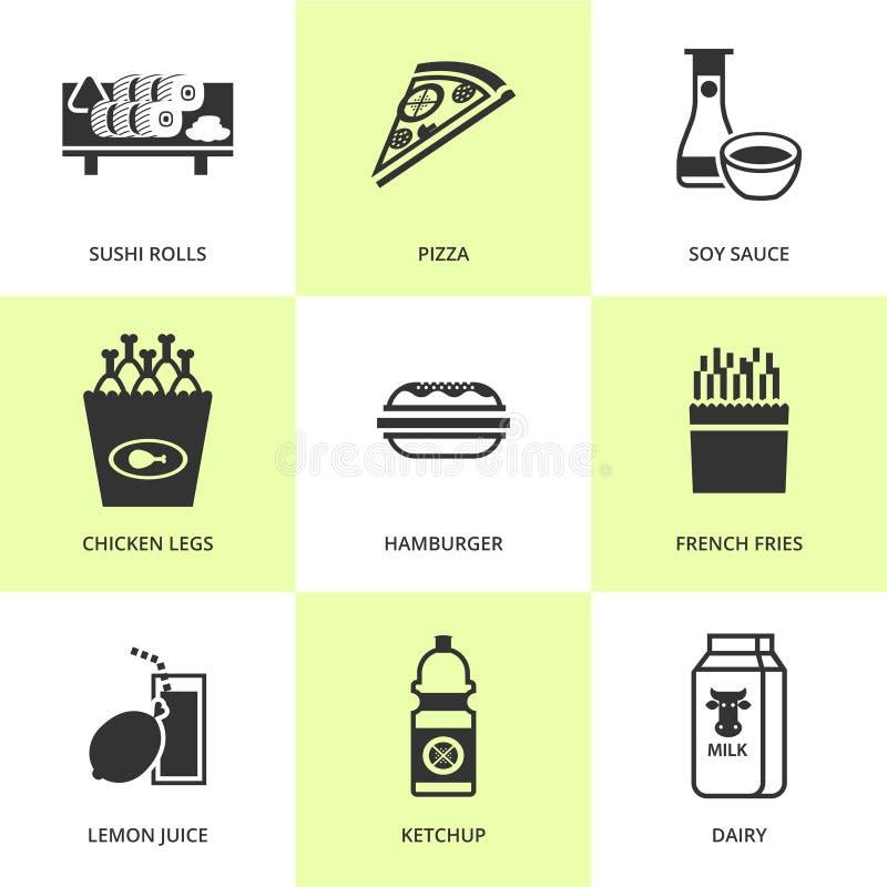 Insieme delle icone nere dell'alimento e della drogheria illustrazione di stock
