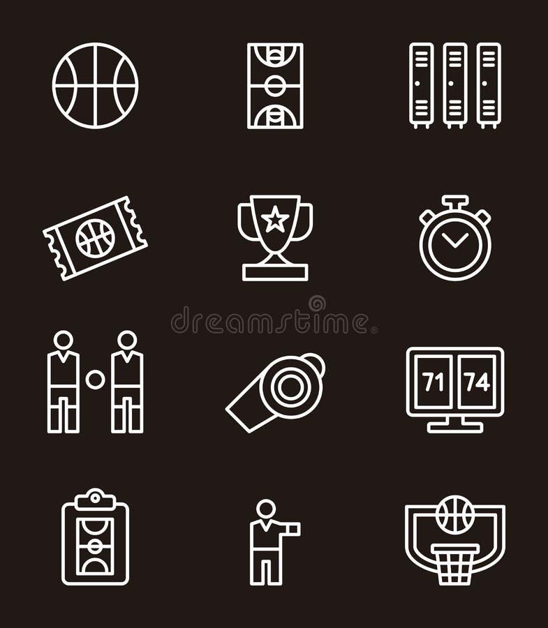 Insieme delle icone o dei simboli di pallacanestro fotografie stock libere da diritti