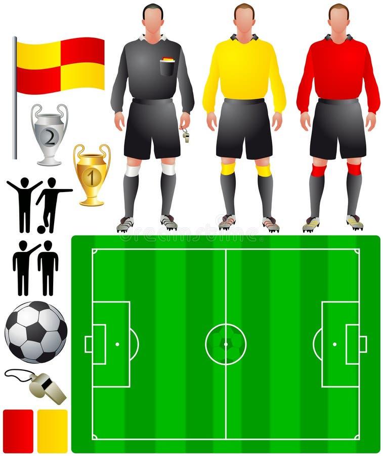 Insieme delle icone per gioco del calcio europeo illustrazione di stock