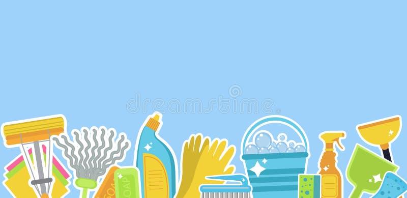 Insieme delle icone per gli strumenti di pulizia Modello per testo Personale di pulizia della Camera Stile piano di progettazione illustrazione di stock