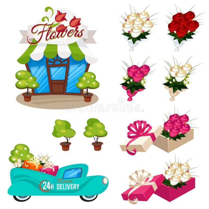 Insieme delle icone per i fiori del negozio illustrazione di stock