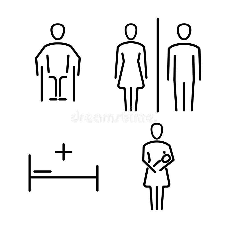 Insieme delle icone per il WC il bagno illustrazione di stock